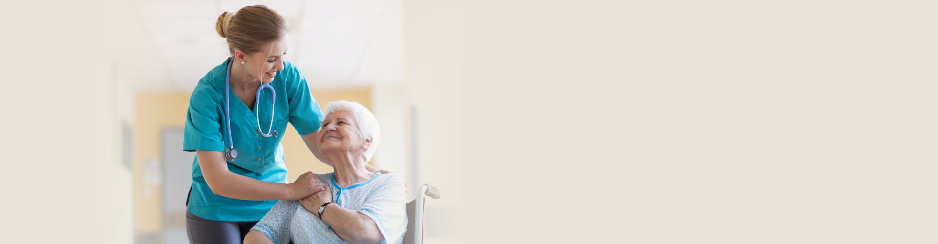 caregiver chatting with senior woman